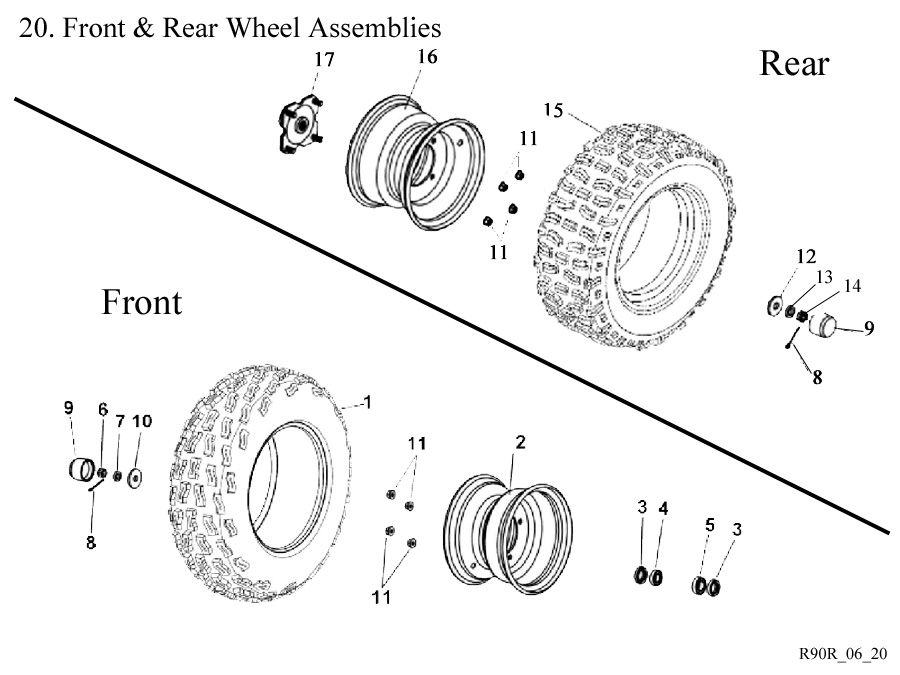 Eton Viper RX4-90R ATV Wheels, Bearings, Tires, Rims and other Tire Related nuts bolts & washers