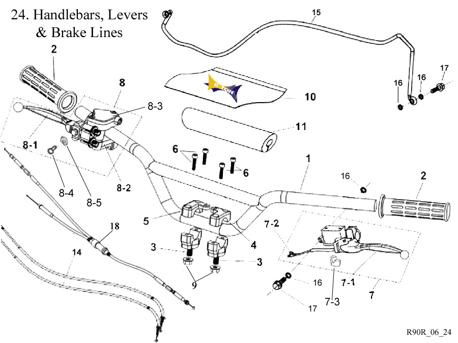 E-Ton Viper RXL90R09 ATV Brake Levers-Throttle-Brake Cables-Master Cylinders along with other Handlebar parts are sold through Get 2it Parts.com