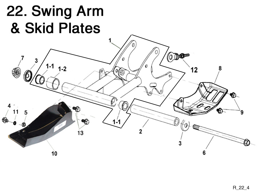 Swing Arm and Skid Plates