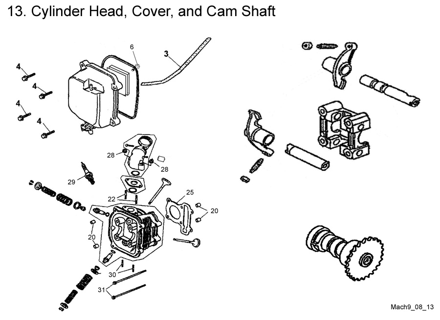 Cylinder Head, Cover, and Cam Shaft