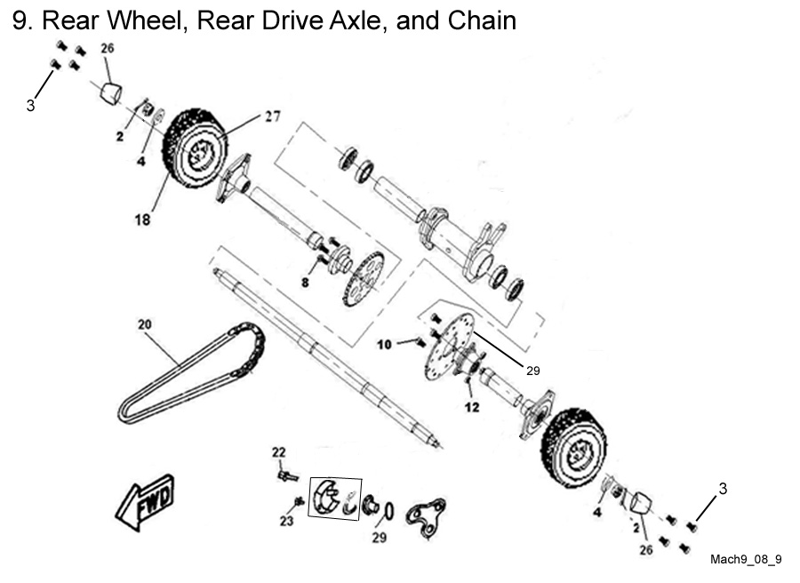 Rear Wheel, Rear Drive Axle, and Chain